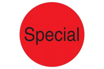 "(Special, Fluorescent Red) - DayMark IT112003 DuraMark Permanent Circle Deli Label, ""Special"", 2.5cm Diameter, Fluorescent Red (Roll of 1000)"