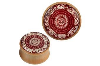 (24 mm) - Wood Plug bright red white mandala flower acrylic inlay Tribal Piercing
