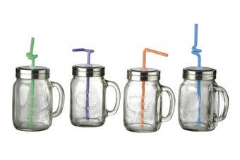 (Pink) - Artland Oasis Mason Jars with Bendy Straws, Set of 4