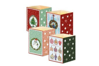 (red) - Mini advent lantern cards 16.6.x 11.5 sent flat fold into lantern with envelope Coppenrath (red)