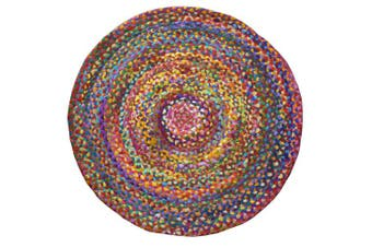 (120 x 120) - Fair Trade Braided Round Chindi Recycled Cotton Rag Rugs (120 x 120)