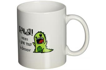 3dRose Rawr Means I Love You in Dinosaur Ceramic Mug, 330ml