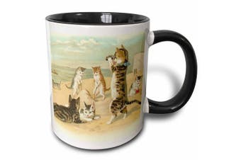 3dRose Cats ar the Beach Two Tone Black Mug, 330ml, Black/White