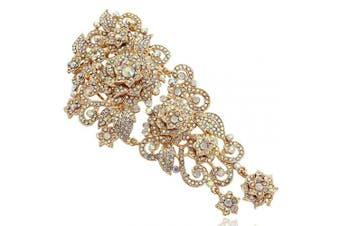 (Iridescent Clear AB Gold-Tone) - EVER FAITH® Gold-Tone 15cm Flower Cluster Hair Comb Iridescent Clear AB Austrian Crystal