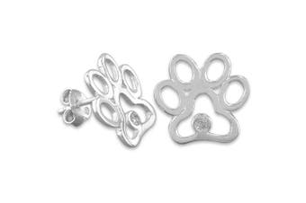 Sterling Silver Synthetic CZ Paw Print Stud Earrings