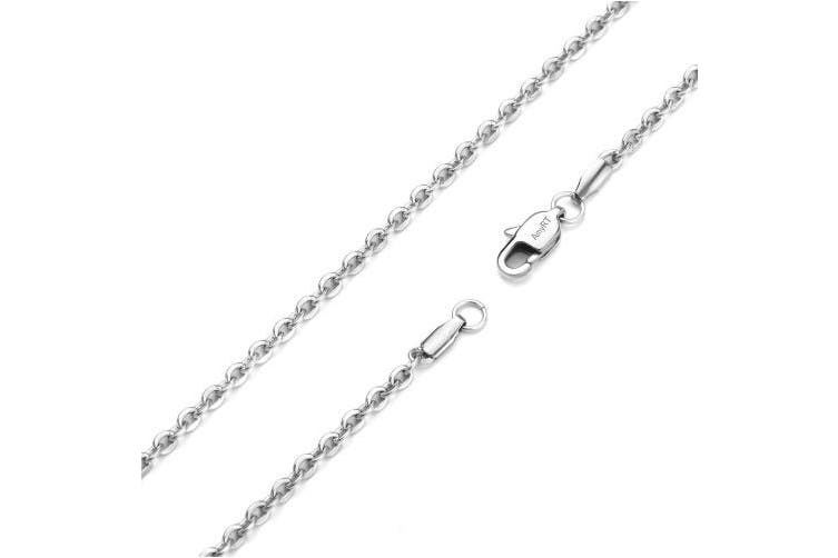 """(30.0 inches) - AmyRT Jewellery 3mm Titanium Steel Cable Chain Silver Necklaces for Women 18""""- 30"""""""