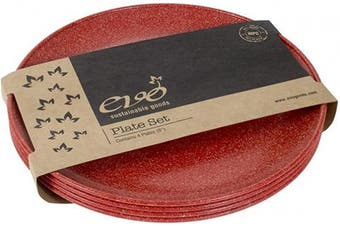(Red) - EVO Sustainable Goods 20cm Plate, Set of Four, Red