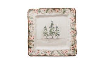 Arte Italica Natale Square Plate, Cream