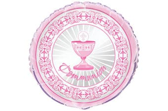 (Foil Balloon, Pink) - 46cm Foil Radiant Cross Pink First Communion Balloon