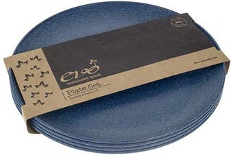 (Blue) - EVO Sustainable Goods 25cm Plate, Set of Four, Blue