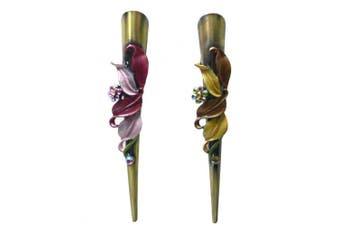 (rosebrown) - Set of 2 Flower Alligator Clips YY86155-1-2rosebrown