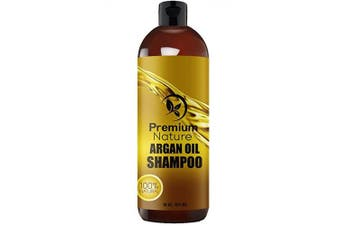 Argan Oil Daily Shampoo 470ml, All Organic, Rejuvenates Heat Damaged Hair, Nourishes & Prevents Breakage, Sulphate Free, Vitamin Enriched Formula by Premium Nature