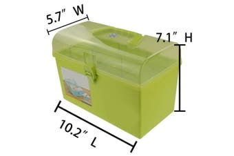 (green) - Pekky Plastic Storage Organiser Box with Tray and Handle, Multi-Purpose (green)