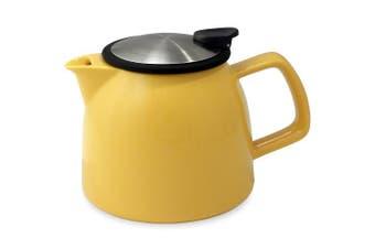 (Mandarin) - FORLIFE Bell Ceramic Teapot with Basket Infuser, 26-Ounce/770ml, Mandarin