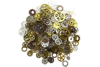 (Mixed Color) - Aokbean 150 Gramme Assorted Vintage Mixed Colour Metal Steampunk Jewellery Making Charms Cog Watch Wheel (Mixed Colour)