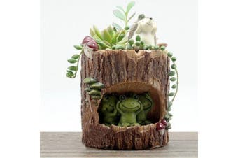 Tinksky Cute Green Frog Flower Sedum Succulent Pot Planter Bonsai Trough Box Plant Bed Office Desk Home Garden Pot Decor