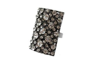 Acosta Jewellery - Antique Silver Coloured - Clear Crystal Rectangular Fashion Ring