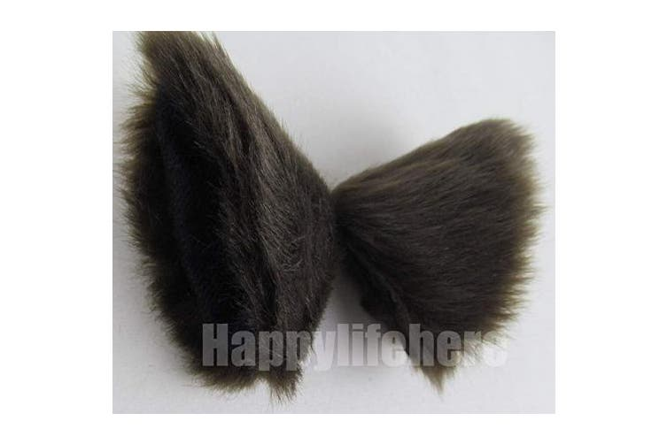 (Brown) - Happylifehere Long Fur Cat Ears and Cat Tail Set Halloween Party Kitty Cosplay Costume Kits (Brown)