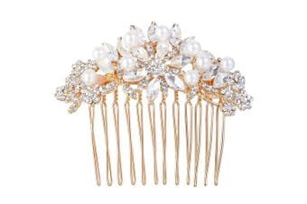 (Rose Gold-Tone) - EVER FAITH Austrian Crystal Cream Simulated Pearl Bridal Lots Leaves Flowers Hair Comb Clear