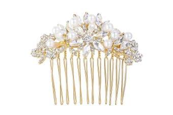 (Gold-Tone) - EVER FAITH Austrian Crystal Cream Simulated Pearl Bridal Lots Leaves Flowers Hair Comb Clear