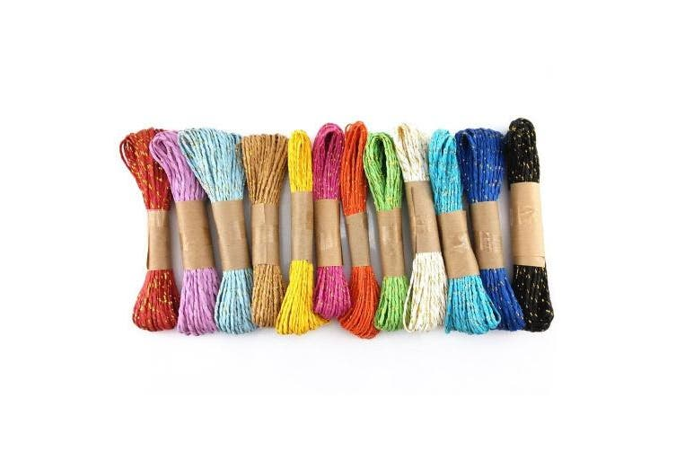 yueton 12 Bundles 10m Colourful Raffia Stripes Paper String with Gold Wire DIY Craft Decorating Tool
