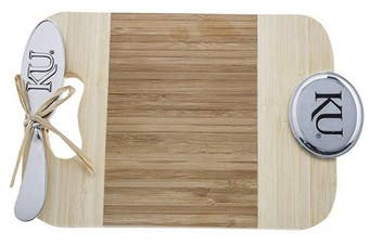 (cheese board and spreader set) - Thirstystone Bamboo Serve Board with Spreader, Mini, University of Kansas