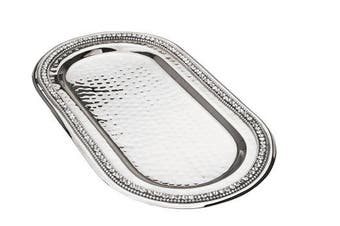Classic Touch SDT190 Hammered Stainless Steel Oval Tray, Trimmed with Exquisite Diamonds, 28cm