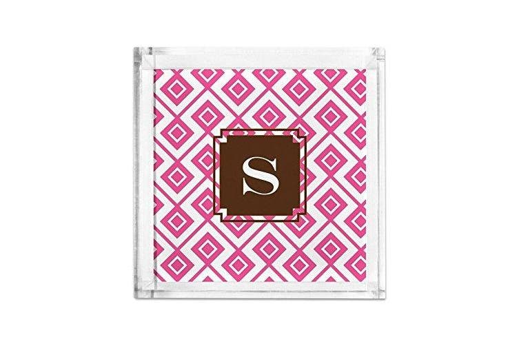 (Initial (Y)) - Dabney Lee Lucy Petite Lucite Tray with Single Initial, Y, Multicoloured