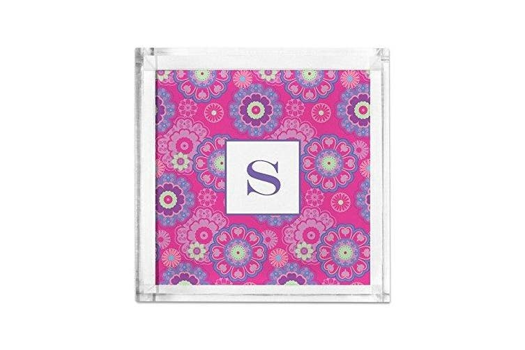 (Initial (T)) - Chatsworth Nadia Petite Lucite Tray with Single Initial, T, Multicoloured