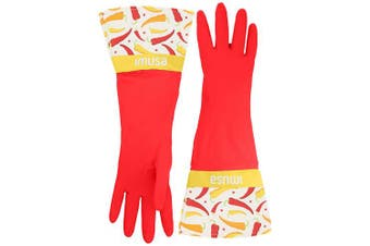 (Red) - IMUSA Heavy Duty Reusable Cleaning Gloves With Stylish Fashion Design, One Size Fits Most, Red