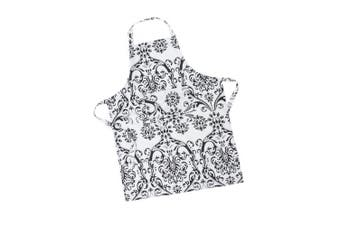 LinenTablecloth Black on White Damask Chef Apron