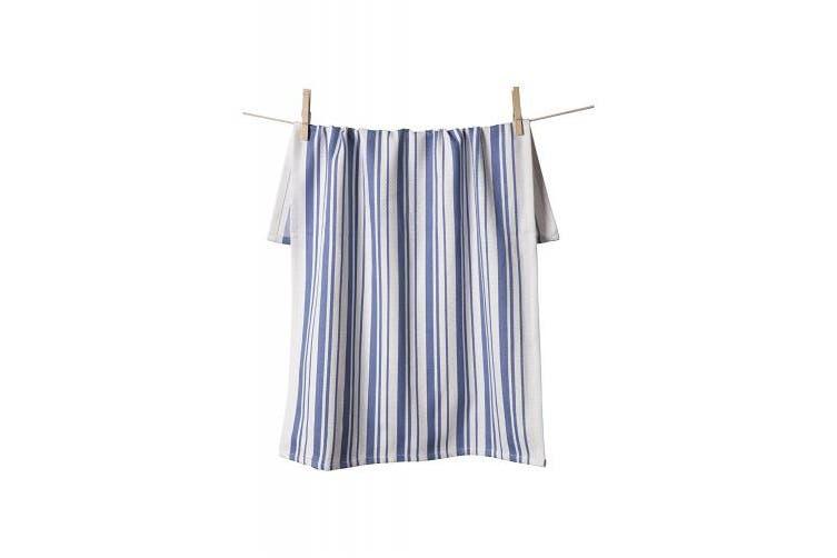 (1 Basket Weave Towel, Periwinkle Stripes) - KAF Home Basket Weave Kitchen Towel, 100% Cotton, Super Absorbent, Oversized at 50cm x 80cm , White with Periwinkle Stripes