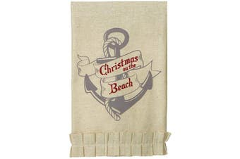 (Single Towel, Christmas On The Beach) - C.R. Gibson 100% Cotton Holiday Tea Towel, Designed by Artist Hannah Grace, Embroidered Christmas Kitchen Towel, Measures 48cm x 70cm - Christmas On The Beach