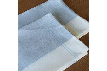 LinenMe Florence X2 Tea Towels, 48cm by 70cm , Blue Cinque