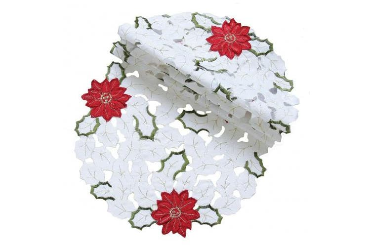 (20cm  Round) - Xia Home Fashions Holiday Poinsettia Embroidered Cutwork Round Christmas Doilies, 20cm , Set of 4