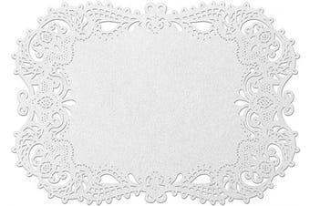 (Fancy, White Shimmer) - Hortense B. Hewitt Laser Cut Decorative Paper Place Mat, 31cm x 44cm , White Shimmer