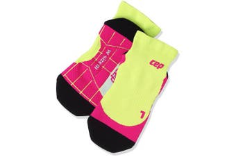 (Size 2, Lime/Pink) - CEP Women's Ankle Compression Running Low Cut Socks for Performance
