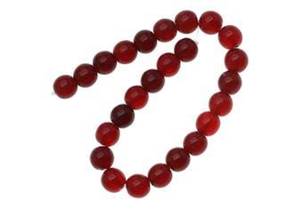 Czech Glass Druk 25-Piece Round Beads, 8mm, Ruby Red