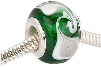 Beadaholique Murano Style Glass Lampwork Pandora Compatible Beads, 14mm, Emerald Green White Swirl