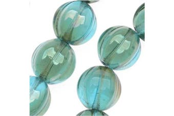 Beadaholique Czech Pressed Glass 25-Piece Round Melon Beads, 8mm Diameter, Aquamarine Celsian