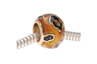 22K Gold Plated Enamel Cheetah Animal Print - European Style Large Hole Bead