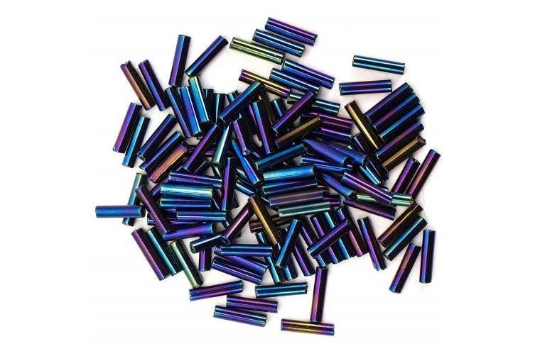 Cousin 2520109 Czech Glass Bugle Beads, Size 4, Blue Iris
