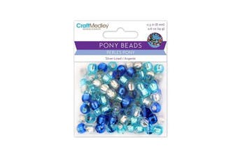 Pony Beads, Silver-Lined, 8mm, 19g, Cloud