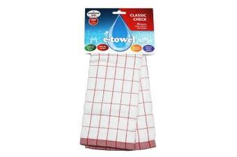 (Pack Of 1) - E-cloth E-Towel Classic Cheque, Red