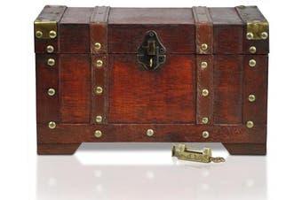 (Miami 28x17x16cm) - Brynnberg wooden pirate treasure chest   decorative storage box model 'Miami 11x 6.18cm x 16cm '   Vintage decoration handmade unique   with padlock and locking   Gift