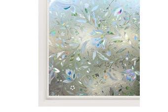 (44.5 x 200 cm) - Rabbitgoo 3D Tulip Pattern Window Films Privacy Film Static Decorative Film Non-Adhesive Heat Control Anti UV 44.5cm x 200cm
