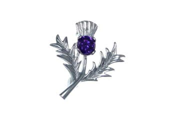 Sterling Silver Amethyst Thistle Brooch - Scottish Pin