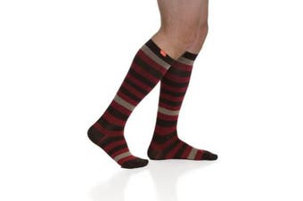 (Medium, Dark Brown & Brick) - VIM & VIGR Compression Socks -Cotton-Thick Stripes - Men's