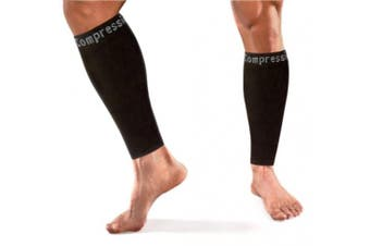 Copper Compression Calf / Shin Splint Recovery Leg Sleeves, GUARANTEED Highest Copper Content + Graduated Compression! Great For Running & All Sports! (1 PAIR - Medium)