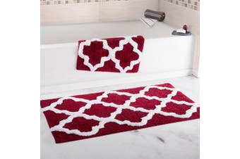 (Burgundy) - Bedford Home 100% Cotton 2 Piece Trellis Bathroom Mat Set - Burgundy